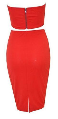 Red White Black Strapless Plunge V Neck Crop Bustier Bodycon Midi Skirt Two Piece Dress - Sold Out