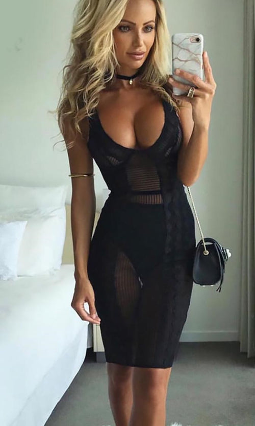 Just A Bit More Black Sheer Mesh Lace Sleeveless Plunge V Bodycon Mini Dress