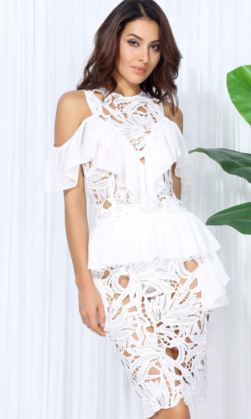 Hearts Will Race White Cut Out Lace Cold Shoulder Ruffle Off The Shoulder Peplum Casual Midi Dress