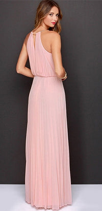 Pink Sleeveless Scoop Neck Halter Pleated Elastic Waist Loose Maxi Dress - Sold Out