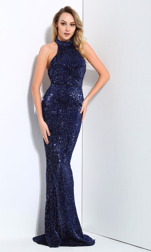 Winning Hearts Navy Blue Sequin Sleeveless Mock Neck Halter Mermaid Maxi Dress Evening Gown