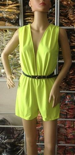Neon Yellow Black Belted Sleeveless Plunge V Neck Sexy Short Romper - Sold Out