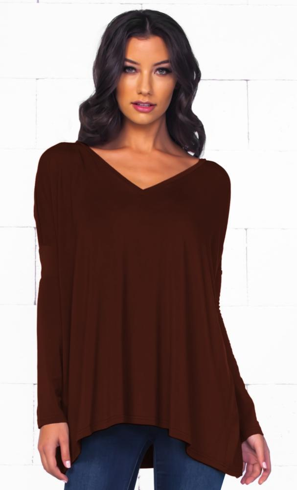 Piko 1988 Chocolate Brown Long Dolman Sleeve V Neck Piko Bamboo Loose Tunic Top - Sold Out