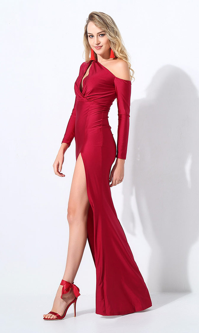 So Smooth Wine Burgundy Long Sleeve One Shoulder Cut Out Asymmetric High Slit Maxi Dress