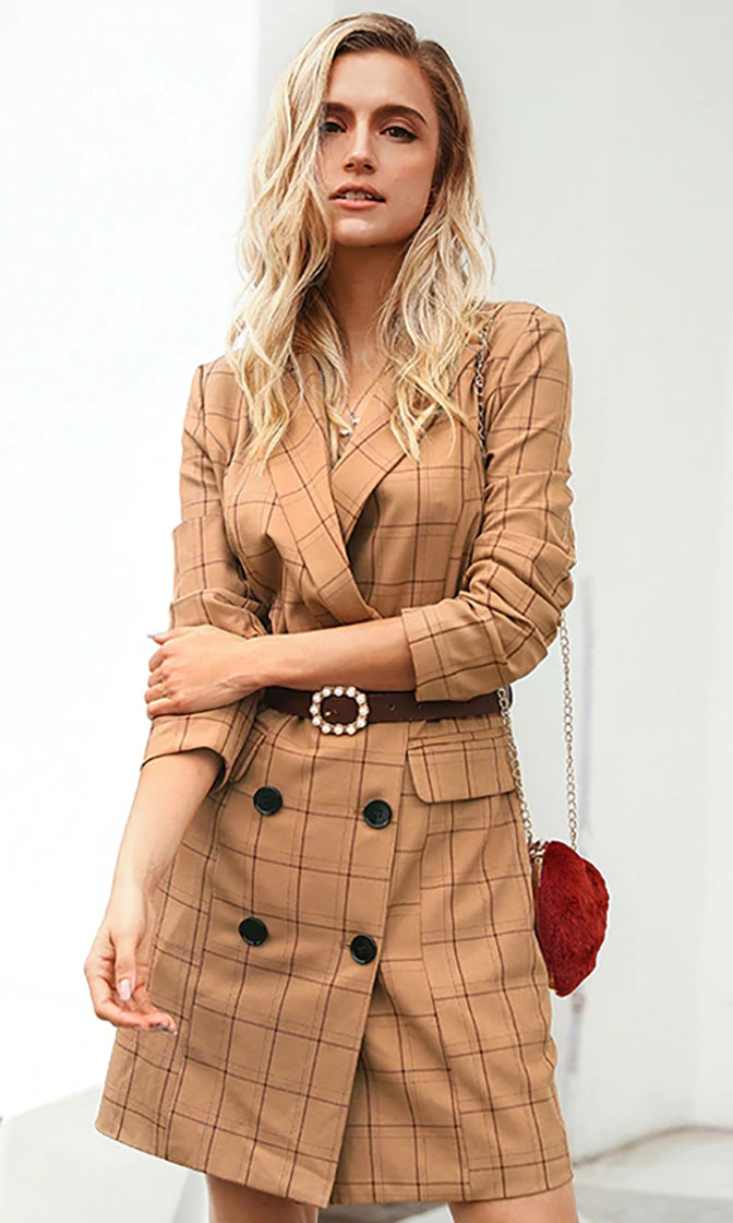 Pressures On Brown Plaid Pattern Long Sleeve V Neck Lapel Double Breasted Button Blazer Jacket Mini Dress