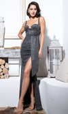 Front Seat Black Glitter Sleeveless Cut Out V Neck Drape Sash High Slit Maxi Dress