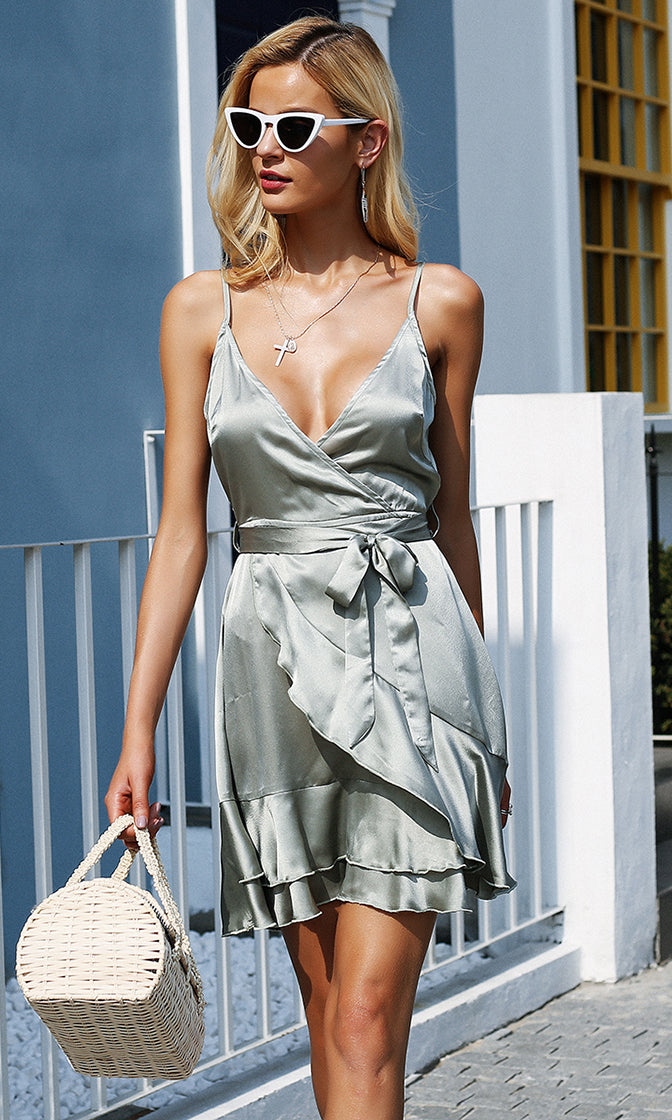 All That Ruffles Silver Satin Sleeveless Spaghetti Strap Cross Wrap V Neck Ruffle Mini Dress