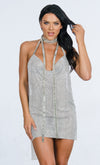 Indie XO Tinsel Town Army Green Sleeveless Spaghetti Strap Plunge V Neck Fringe Tiered Jumpsuit - Inspired by Rihanna