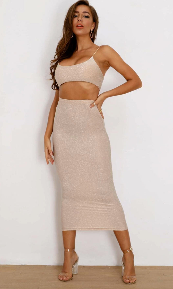 Sparkle All Night Lurex Glitter Bodycon Stretch Two Piece Maxi Dress Spaghetti Strap Crop Top Set
