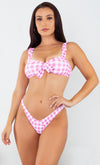 Enjoying The Sunrise Pink Butterfly Pattern Sleeveless Plunge V Neck Lace Up Brazilian One Piece Swimsuit