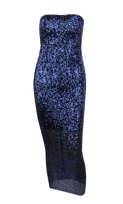Envy This Blue Sequin Strapless Tube Midi Dress