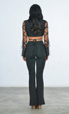 Indie XO No Rules Sheer Mesh Feather Long Sleeve Diamond Geometric Pattern V Neck Crop Top Pant Two Piece Jumpsuit - 3 Colors Available - Sold Out