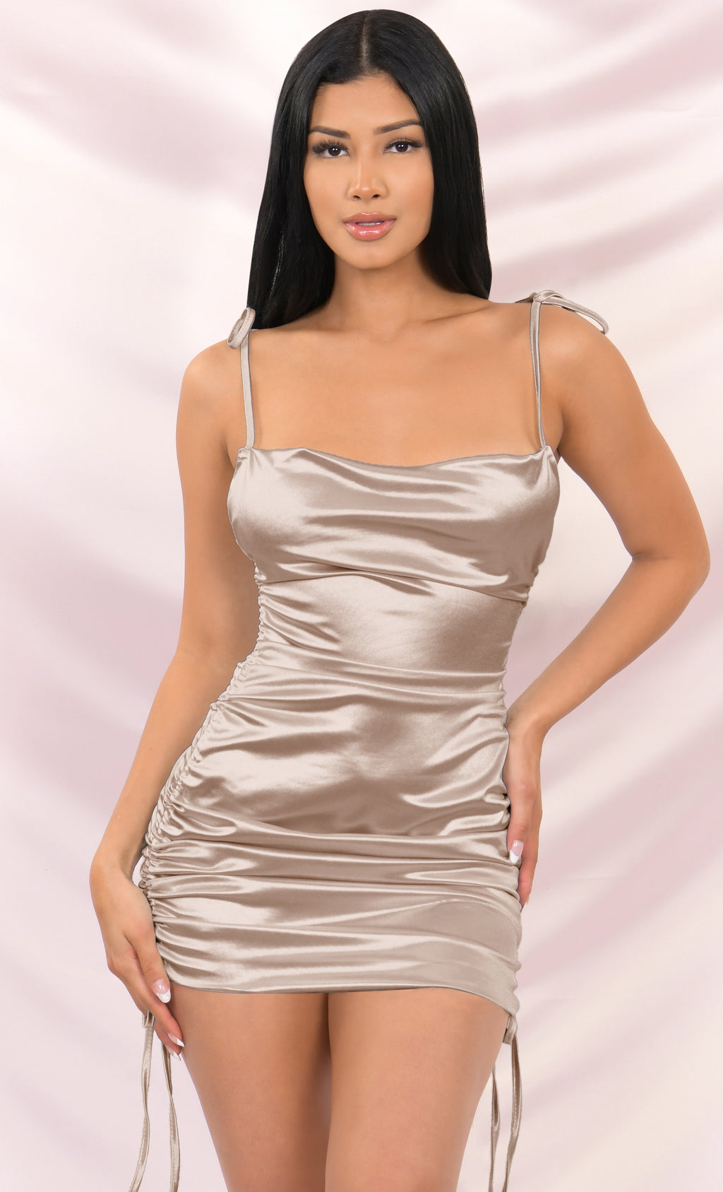 Hit The Jackpot Beige Satin Slip Sleeveless Spaghetti Strap Drape Cowl Neck Ruched Bodycon Mini Dress - 4 Colors Available