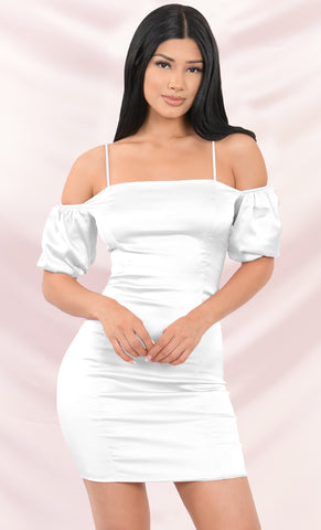 Princess Diaries Long Puff Sleeve Flare Cuff Square Neck Ruffle Hem Bodycon Mini Dress - 4 Colors Available