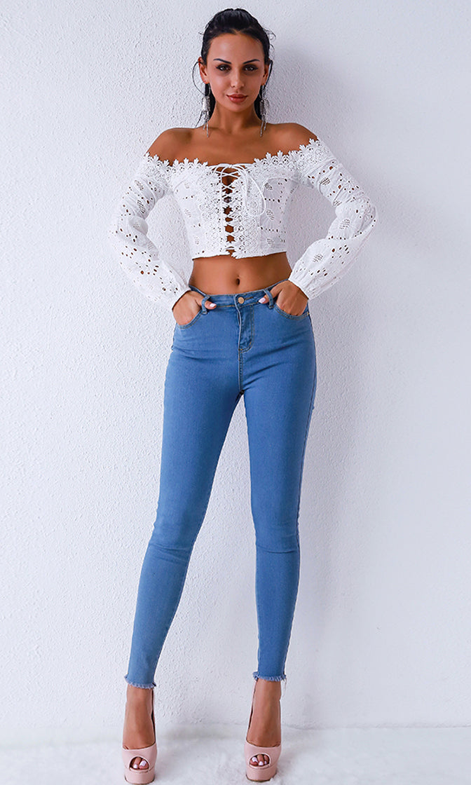 Breaking It Down White Lace Long Bell Sleeve Off The Shoulder Lace Up Crop Top Blouse - 2 Colors Available