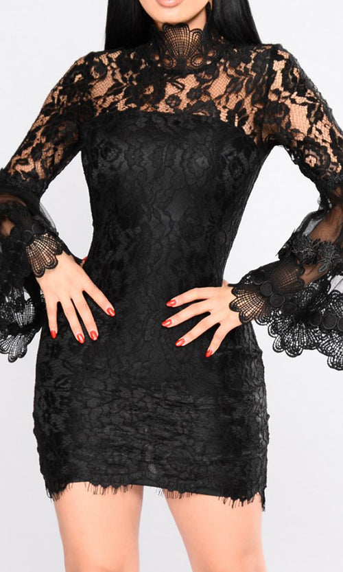 Midnight Mystery Black Sheer Lace Long Flare Sleeve Mock Neck Bodycon Mini Dress