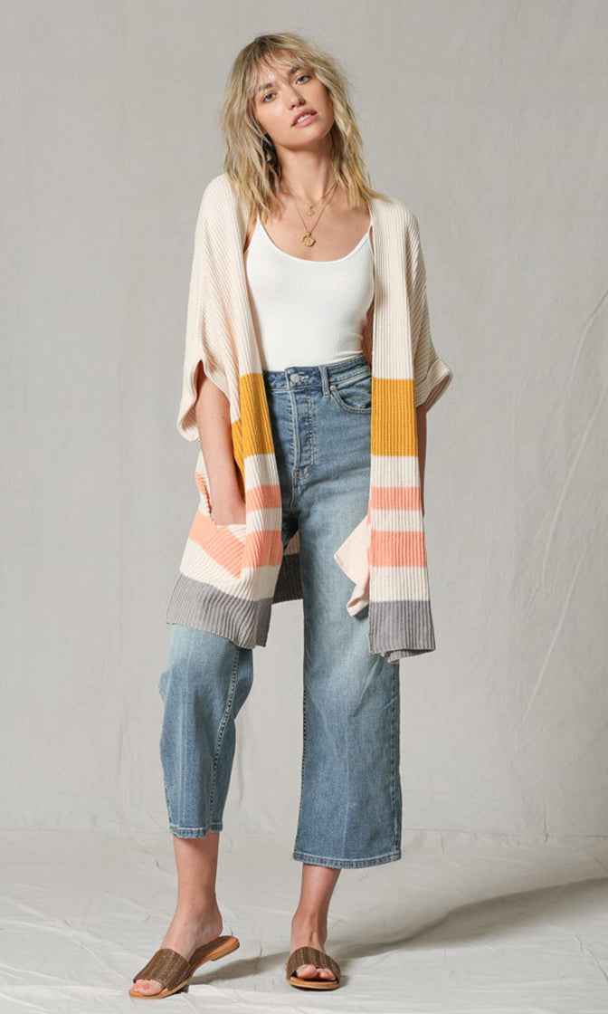 High On Life Off White Mustard Pink Grey Colorblock Stripe Pattern Elbow Sleeve Kimono Cardigan Sweater (Pre-order)
