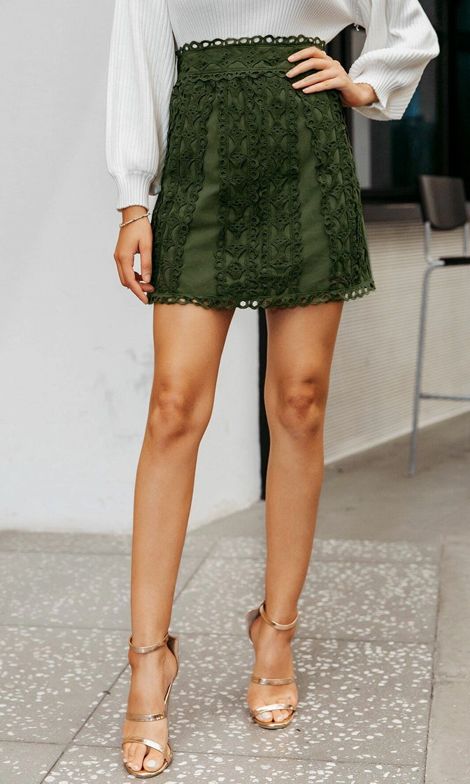 Lace And Grace High Waist Embroidery Lace Trim A Line Mini Skirt - 2 Colors Available