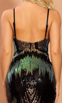 Proud As A Peacock Black Gold Green Multicolor Sequin Feather Pattern Spaghetti Strap Sleeveless V Neck Cut Out Side Slit Maxi Dress