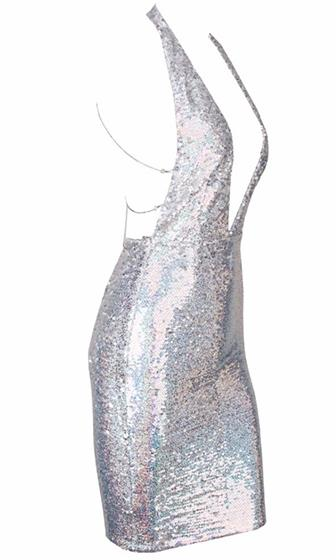 Glitzy Girl Sequin Sleeveless Plunge V Neck Backless Halter Bodycon Mini Dress - 2 Colors Available!