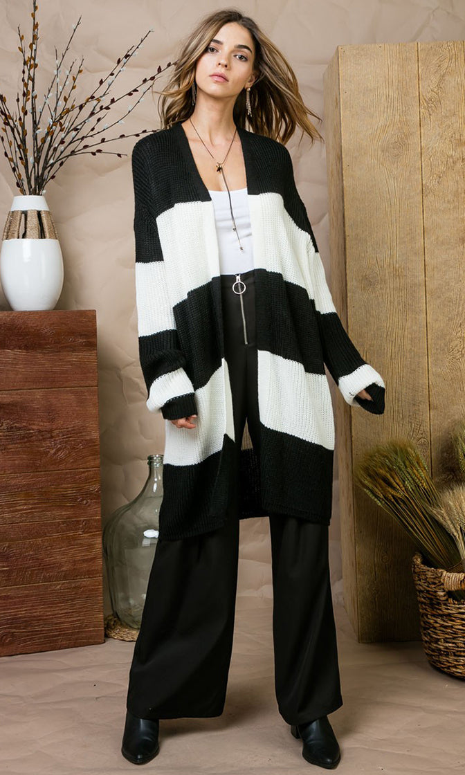 My Favorite Things Black White Horizontal Stripe Pattern Long Sleeve Open Front Loose Cardigan Sweater