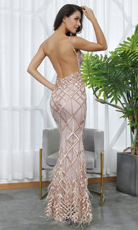 All Dressed Up Gold Sequin Geometric Pattern Sleeveless Spaghetti Straps V Neck Backless Feather Trumpet Maxi Dress - Sold Out