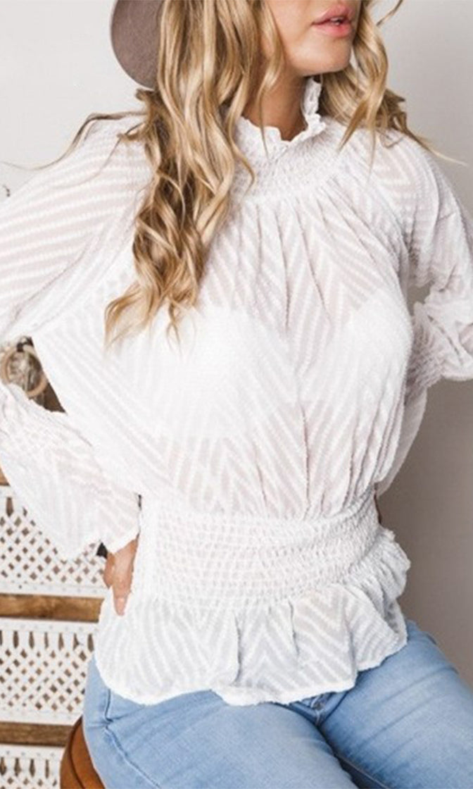 She's A Princess Sheer Mesh Chevron Stripe Pattern Long Sleeve Ruffle Mock Neck Smocked Blouse Top - 2 Colors Available