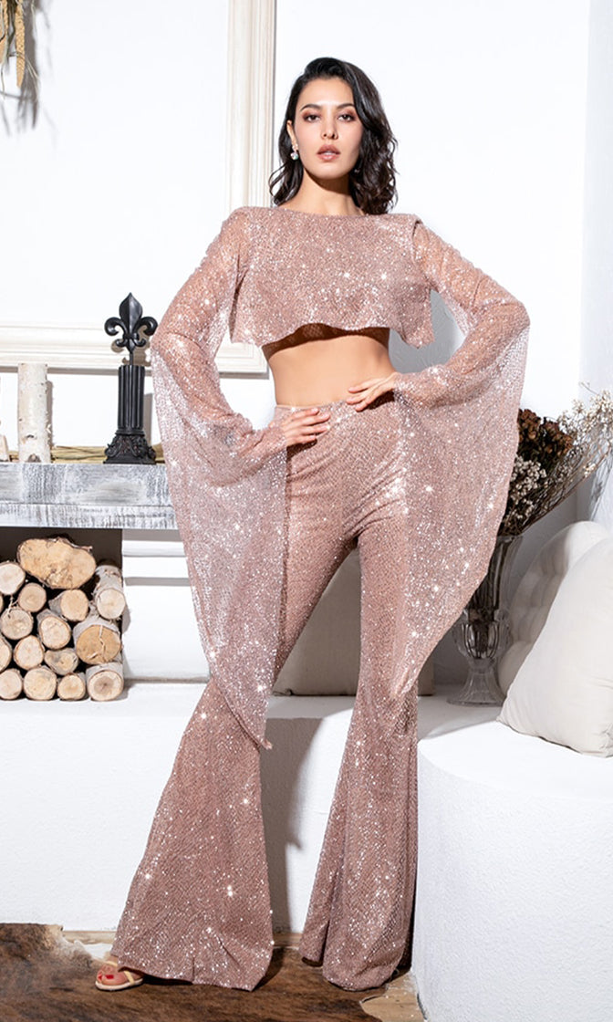 Hot On Your Heels Pink Rose Gold Two Piece Set Glitter Long Bell Sleeve Boat Neck Cut Out Back Wide Loose Flare Leg Jumpsuit