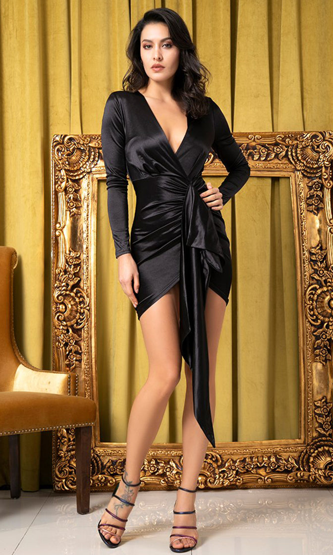 High Energy Black Satin Long Sleeve Plunge V Neck Tie Waist Ruched Bodycon Mini Dress