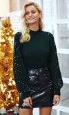 Cold Love Long Lantern Sleeve Beaded Mock Neck Pattern Pullover Sweater - 2 Colors Available - Sold Out