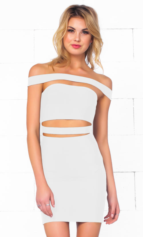 Indie XO It Girl White Strapless Cut Out Bandage Bodycon Mini Dress - Inspired by Kylie Jenner