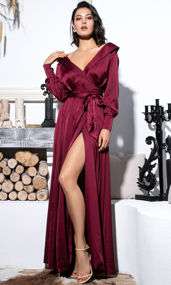Eyes On The Prize Burgundy Long Sleeve Off The Shoulder V Neck Fold Over Cross Wrap Tie Waist Sit Maxi Dress