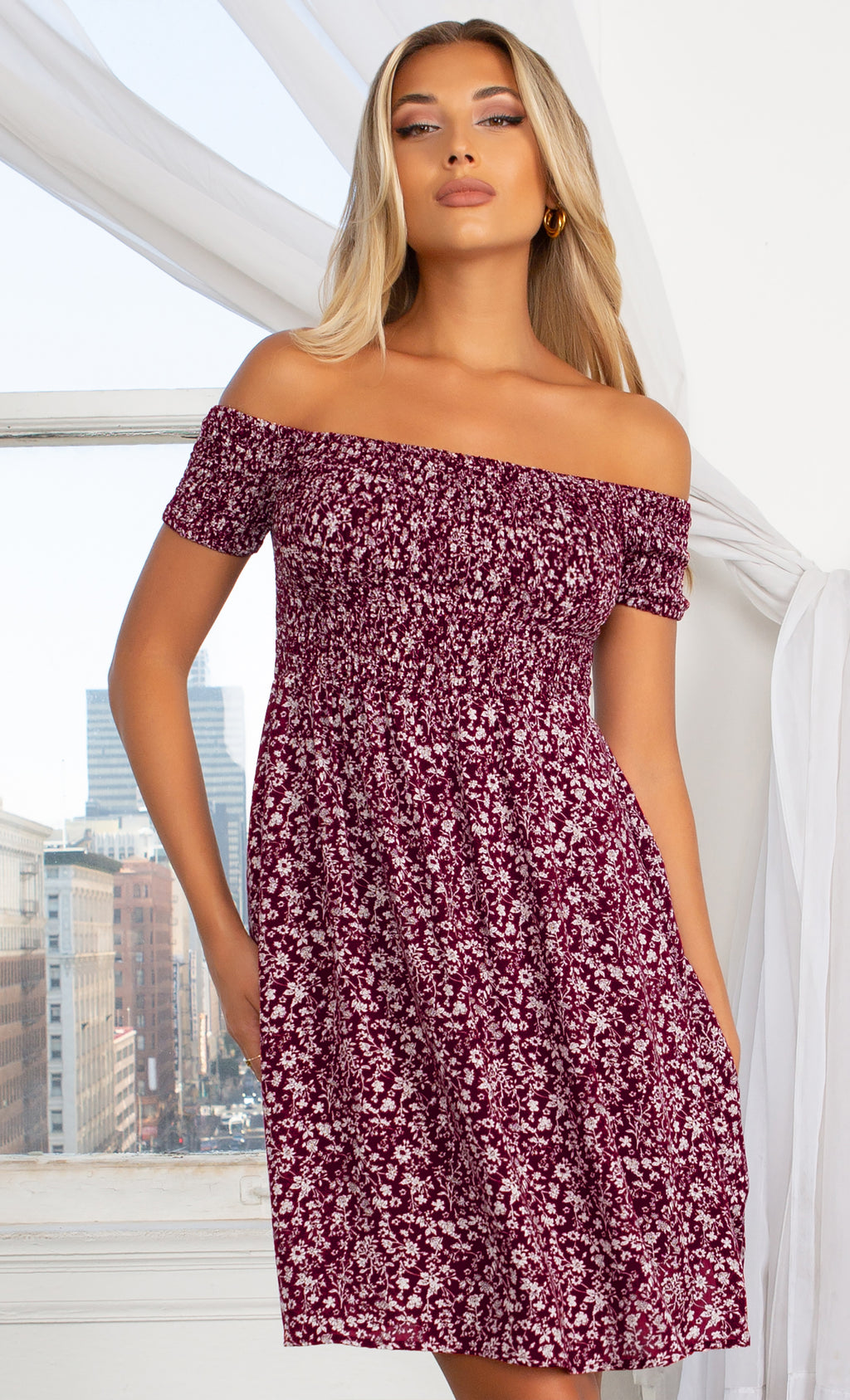 Better With You Burgundy Floral Pattern Short Sleeve Off The Shoulder Skater Flare Casual Mini Dress