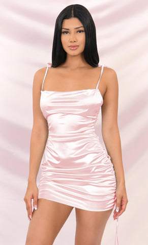 Eyes On You Yellow Satin Sleeveless Spaghetti Strap Cut Out V Neck Bodycon Mini Dress
