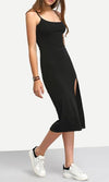 Mix Master Black Spaghetti Strap Scoop Neck Crisscross Back Thigh Slit Midi Dress - Sold Out
