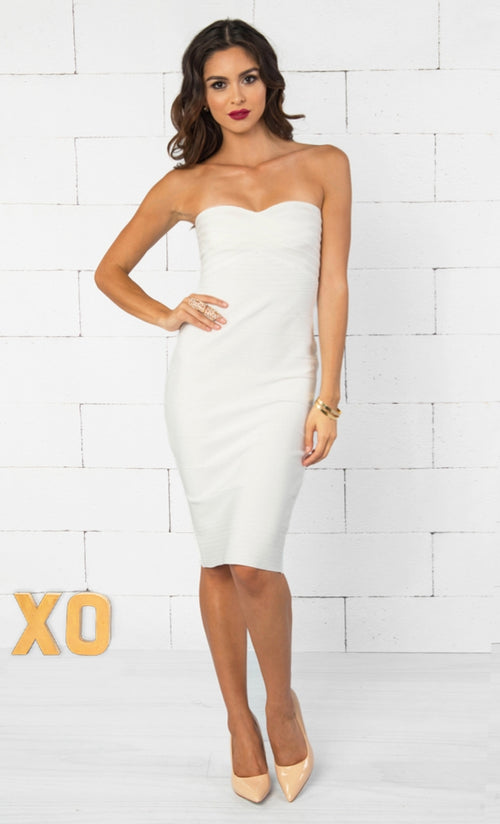 Indie XO Allison White Strapless Ribbed Texture Sweetheart Neck Bandage Bodycon Knee Length Midi Dress - Just Ours!
