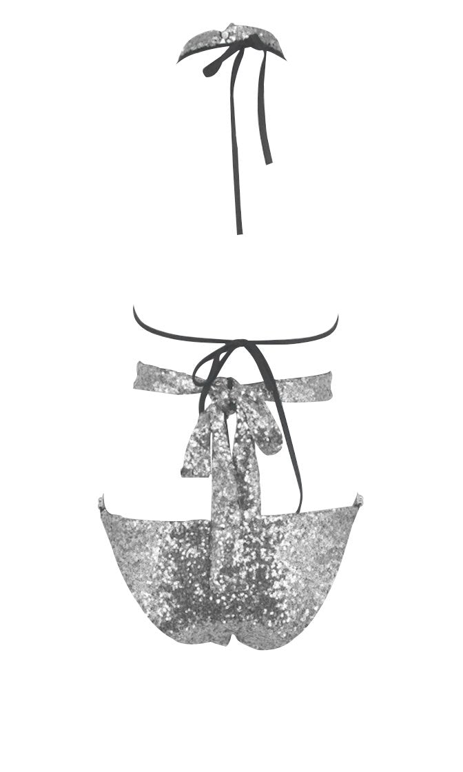 In Hot Water Metallic Silver Crystal Rhinestone Choker Cut Out Triangle Two Piece Bikini Swimsuit - Sold Out