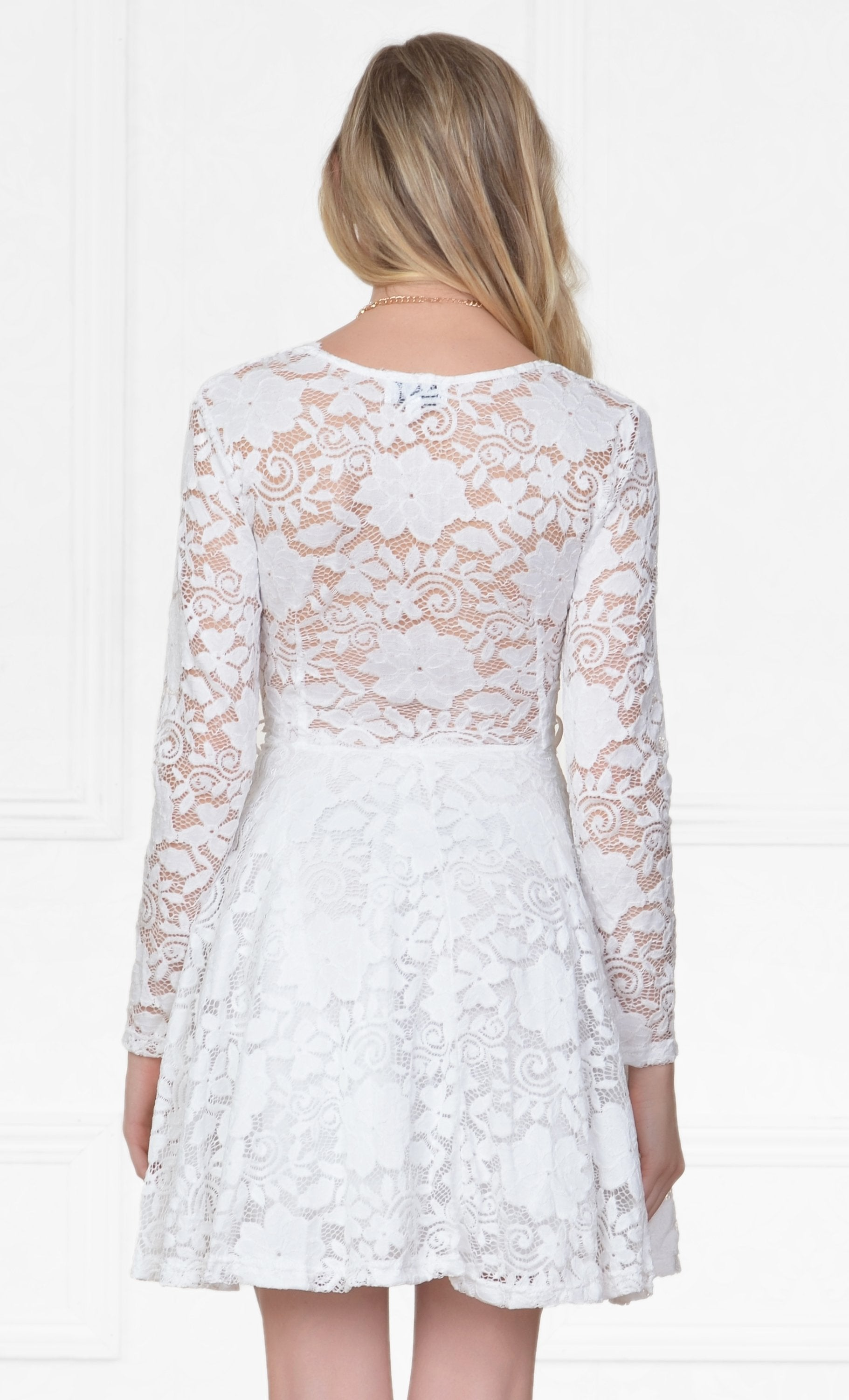 Indie XO Flirty Encounter White Lace Long Sleeve V-Neck Skater Circle A Line Flared Skirt Mini Dress - Just Ours! - Sold Out