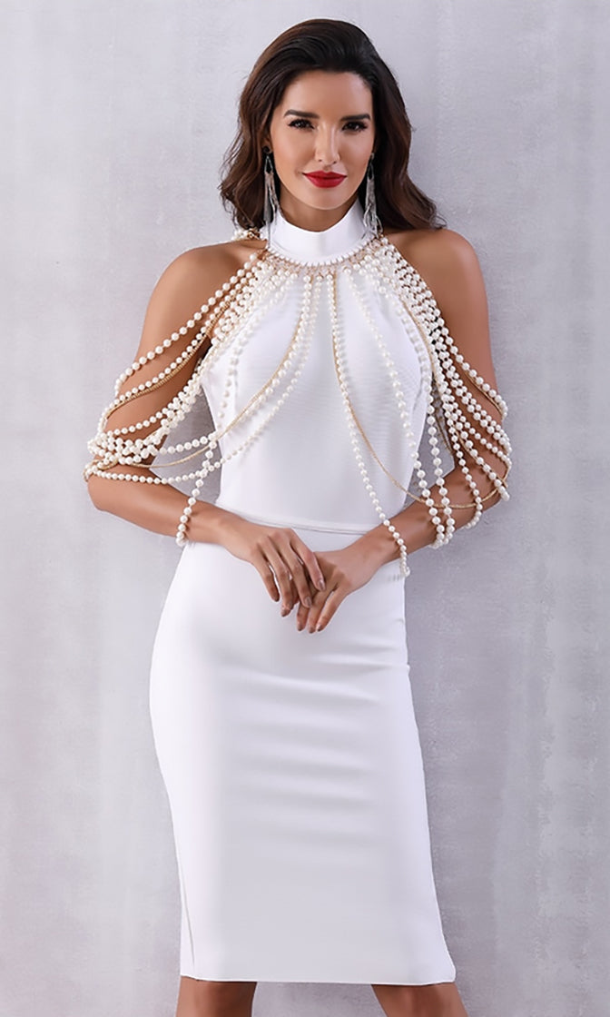 Bright Star Sleeveless Mock Halter Neck Pearl Chain Shoulder Backless Bodycon Bandage Midi Dress