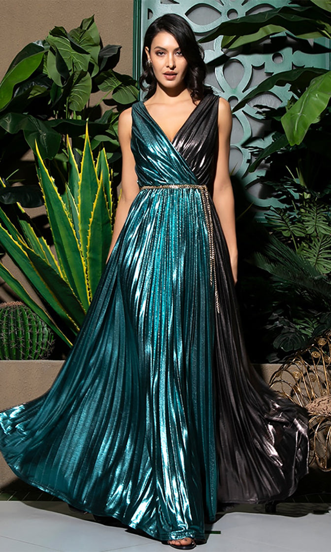 Dancing In The Moonlight Dark Teal Black Metallic Sleeveless Cross Wrap V Neck Chain Belt A Line Maxi Dress