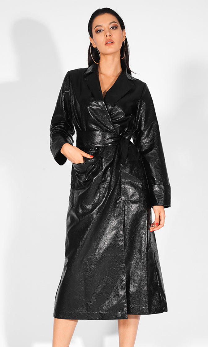 Leading The Pack Black Long Sleeve Metallic PU Faux Leather Wrap Belt Long Jacket Outerwear