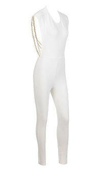 Hello Lover Black Sleeveless Scoop Neck Backless Bandage Stretchy Draped Metal Faux Pearl Chains Skinny Bodycon Jumpsuit