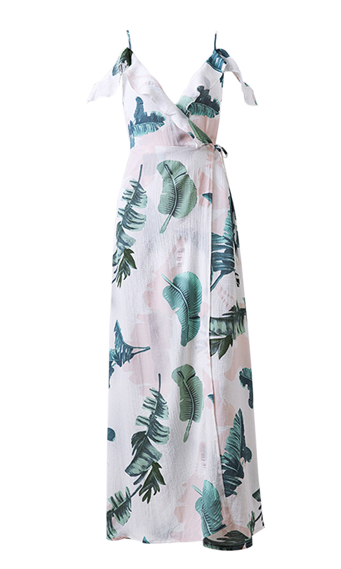 Cisco Beach Floral Pattern Spaghetti Strap Sleeveless Off The Shoulder Cut Out Back Wrap Casual Maxi Dress - 2 Colors Available