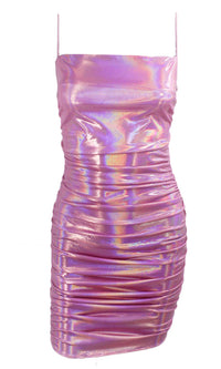 Ask Me To Dance Gold Metallic Sleeveless Spaghetti Strap Square Neck Ruched Bodycon Mini Dress - 2 Colors Available