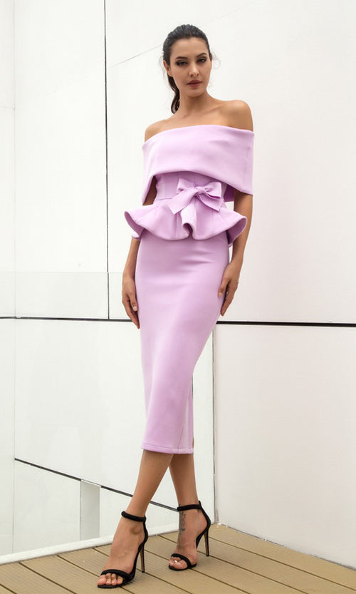 You're Not Worthy Light Purple Off The Shoulder Fold Over Peplum Bow Bodycon Two Piece Midi Dress