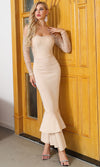 Every Breath You Take Beige Lace Long Sleeve Off The Shoulder Ruffle Mermaid Bodycon Maxi Dress