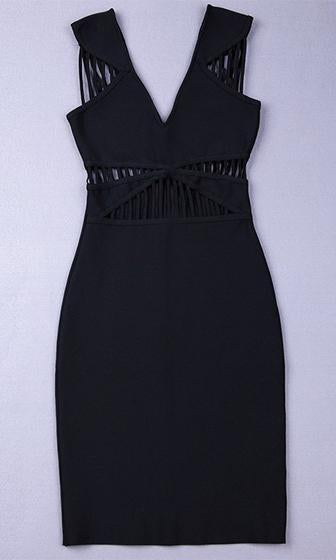 Midnight In Vegas Black Sleeveless Cut Out V Neck Bodycon Bandage Dress - Sold Out