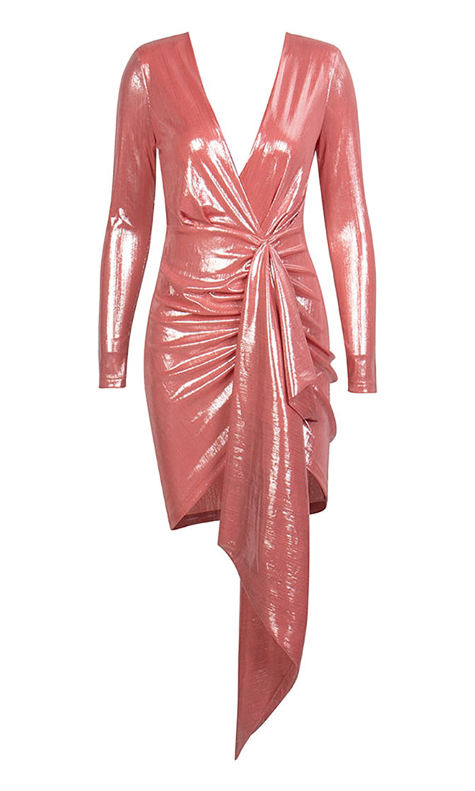 Saturday Night Party Salmon Pink Metallic Long Sleeve Cross Wrap V Neck Draped Ruched Bodycon Mini Dress