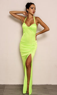 Can't Ignore Me Neon Lime Sleeveless Halter V Neck Side Slit Bodycon Maxi Dress - Sold Out
