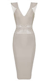 Midnight In Vegas Beige Sleeveless Cut Out V Neck Bodycon Bandage Dress - Sold Out
